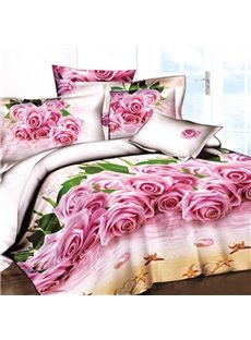 3D Pink Roses on the Beach Printed Cotton 4-Piece Bedding Sets/Duvet Covers
