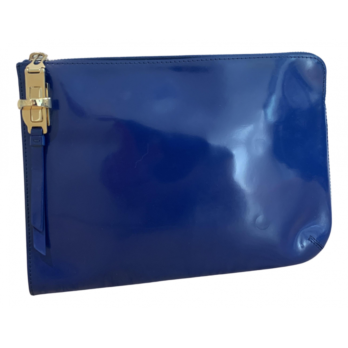 Max Mara - Pochette   pour femme en cuir verni - bleu