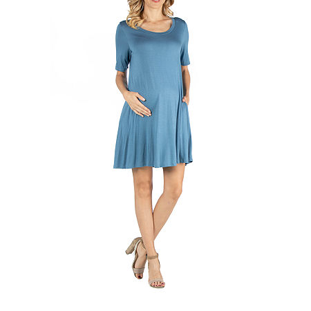 24/7 Comfort Apparel Soft Flare T-Shirt Dress with Pockets, Medium , Blue