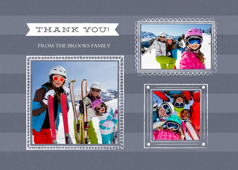 Thank You Cards 5x7 Folded Cards, Standard Cardstock 85lb, Card & Stationery -Thank You Stripes