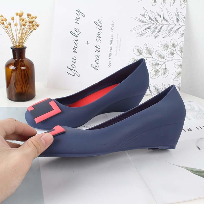 Ericdress PVC Slip-On Round Toe Wedge Heel Women's Jelly Shoes