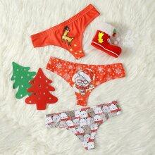 3pack Christmas Cartoon Graphic Panty Set