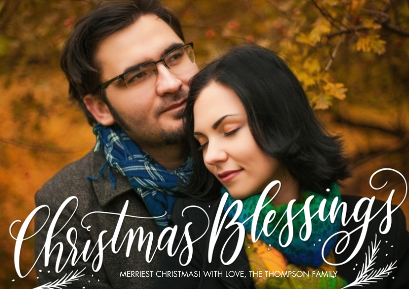 Christmas Photo Cards 5x7 Cards, Standard Cardstock 85lb, Card & Stationery -Christmas Script Blessings by Tumbalina