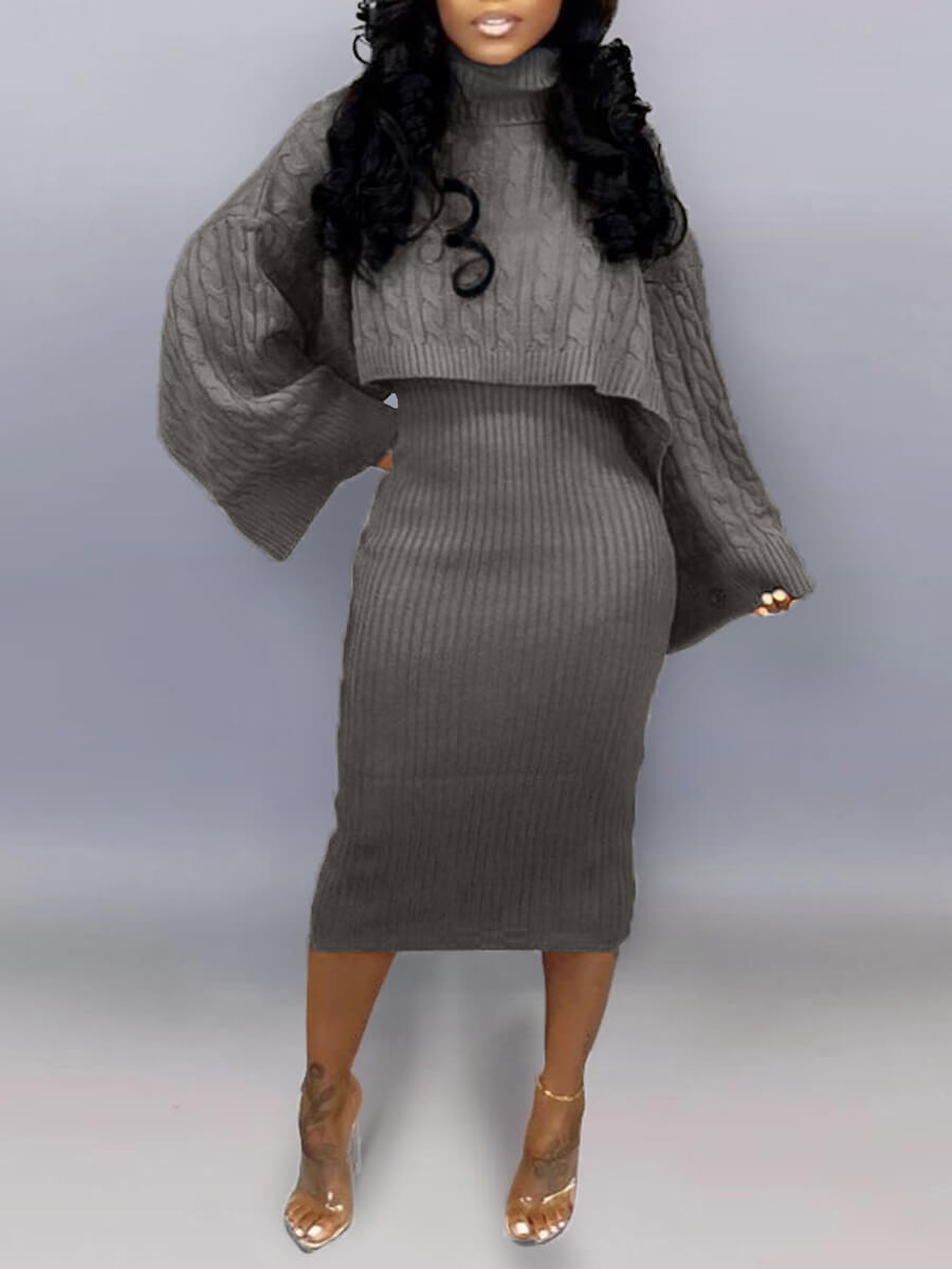 LW Lovely Trendy Turtleneck Loose Dark Grey Plus Size Two-piece Skirt Set