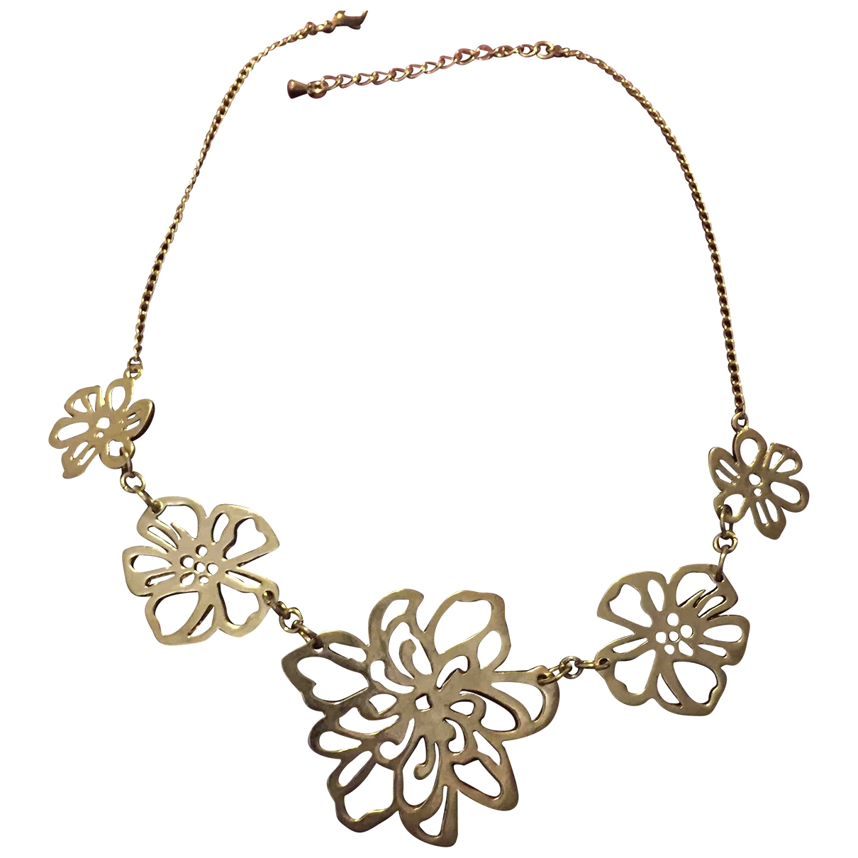 Non Signe / Unsigned Motifs Floraux Kette in  Gold Metall