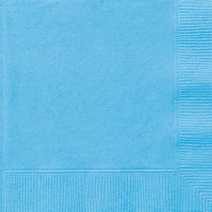 Party Luncheon Napkins Solid Color 33*33cm 13*13In 2-Ply Powder Blue 20Pcs
