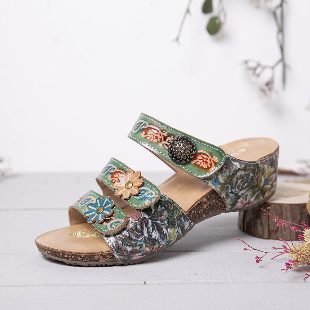 SOCOFY Handmade Leather Beaded Floral Adjustable Strappy Slip on Slides Wedge Sandals