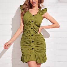 Ruffle Trim Button Front Ruched Dress