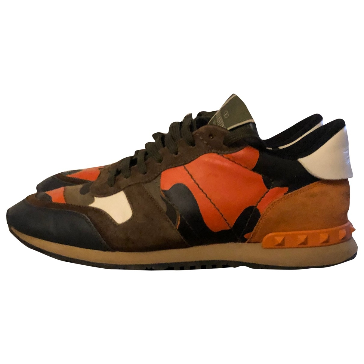 Valentino Garavani Rockrunner Orange Leather Trainers for Men 42 IT