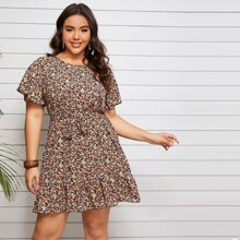 Plus Ditsy Floral Print Butterfly Sleeve Belted Dress