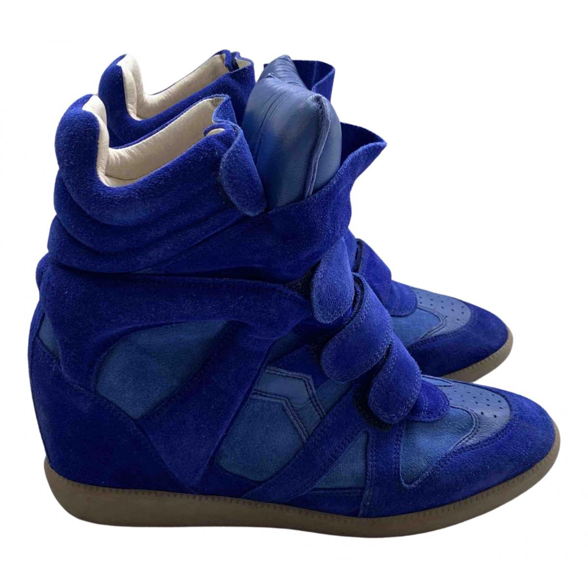 Isabel Marant Beckett Sneakers in  Blau Veloursleder