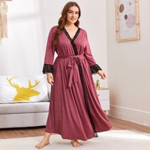 Plus Lace Trim Self Belted Marled Robe