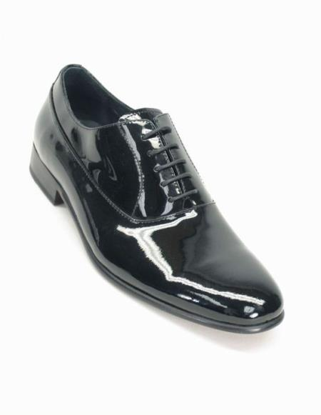 Men's Fashionable Lace Up Style Black Patent Shoes