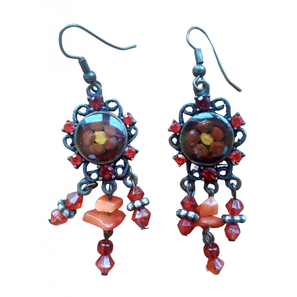 - Boucles doreilles Motifs Floraux pour femme en metal - rouge
