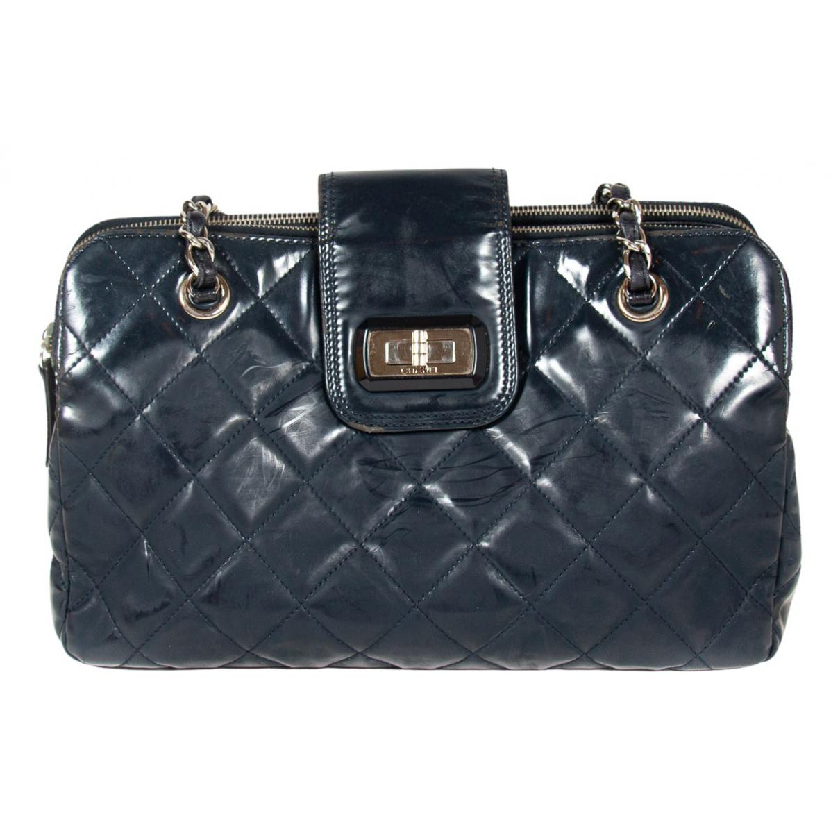 Chanel - Sac a main 2.55 pour femme en cuir verni - marine
