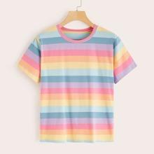 Rainbow Striped Short Sleeve Tee