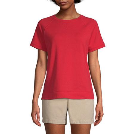 St. John's Bay-Womens Round Neck Short Sleeve T-Shirt, Medium , Red