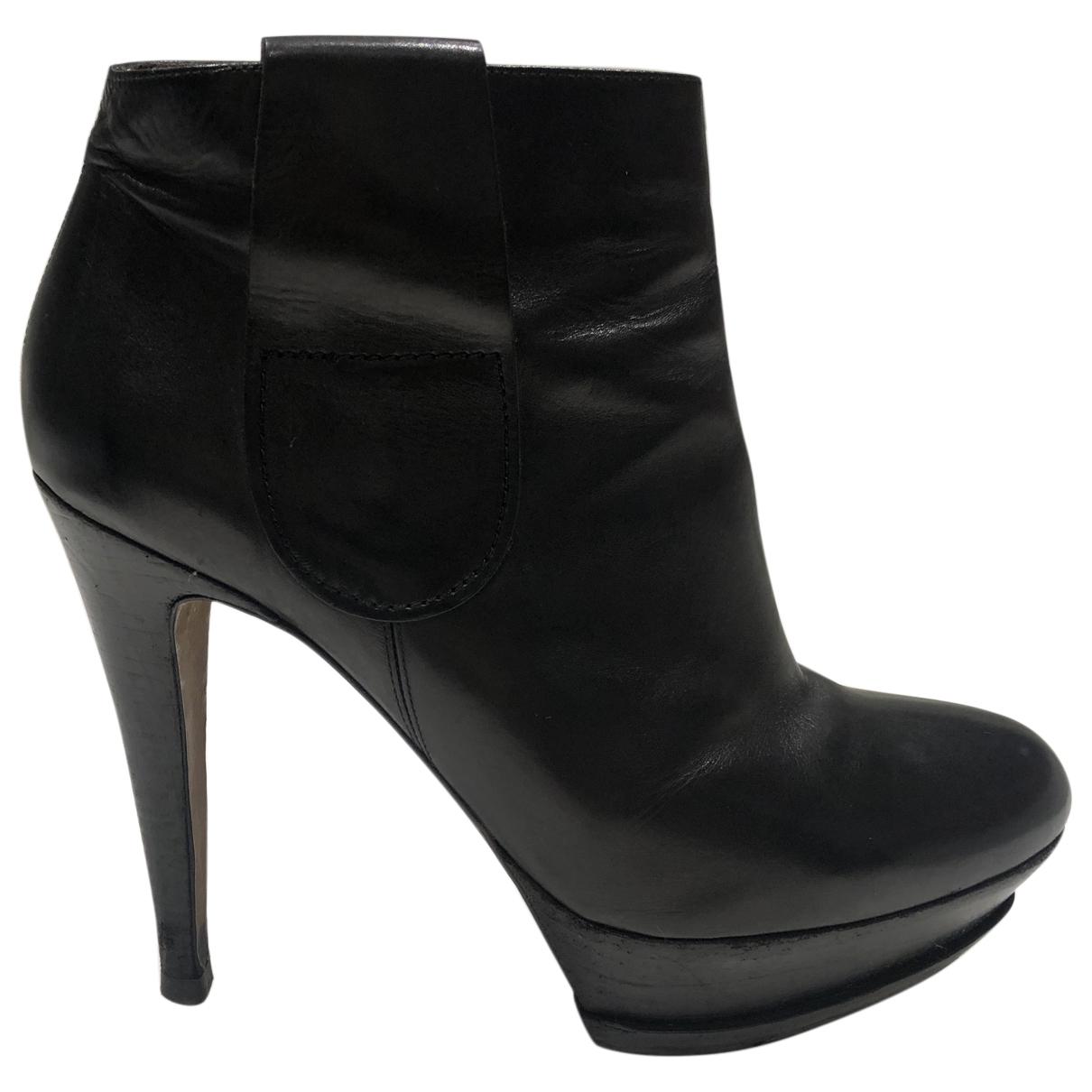 - Boots   pour femme en cuir - noir