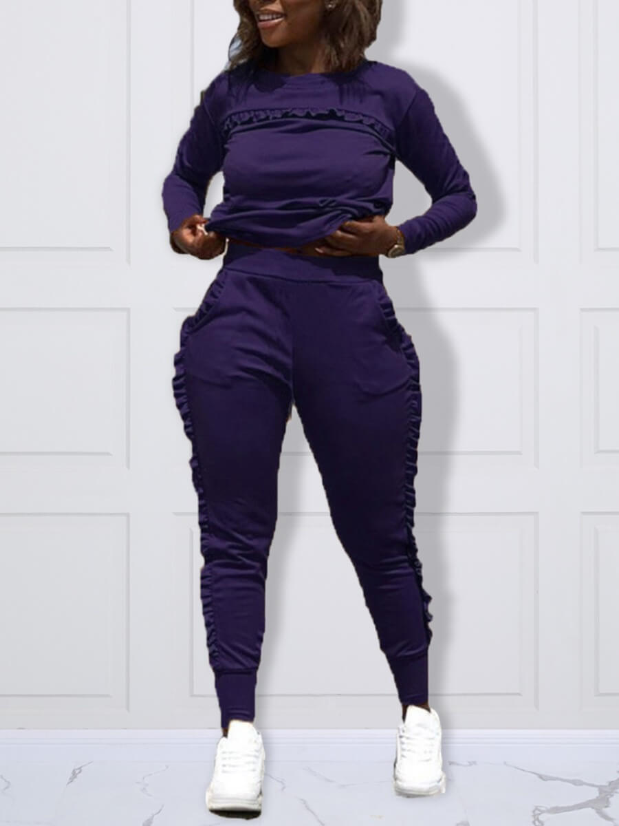LW Lovely Casual O Neck Patchwork Purple Plus Size Two-piece Pants Set