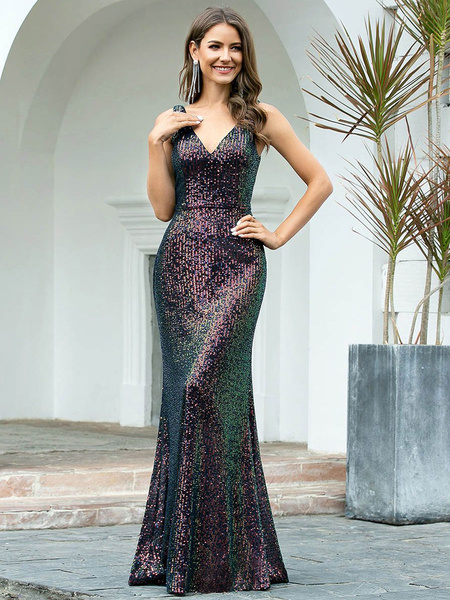 Milanoo Evening Dress A-Line V-Neck Floor-Length Backless Sequined Social Party Dresses
