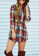 Plaid Button Long Sleeve Mini Dress without Belt