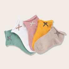 5 Paare Kleinkind Maedchen Socken mit Schleife Dekor
