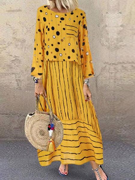 Milanoo Sin mangas de los vestidos maxi amarillo Impreso V-cuello de las rayas de los puntos de poliester vestido largo