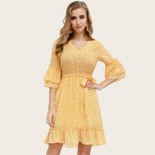 Kate Kasin Flounce Sleeve Belted Ruffle Hem Allover Print Dress