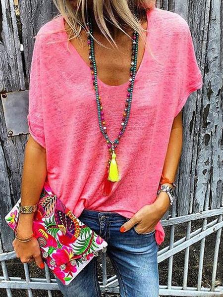 Milanoo Short Sleeve T Shirt V Neck Oversized Tee Tops For Women