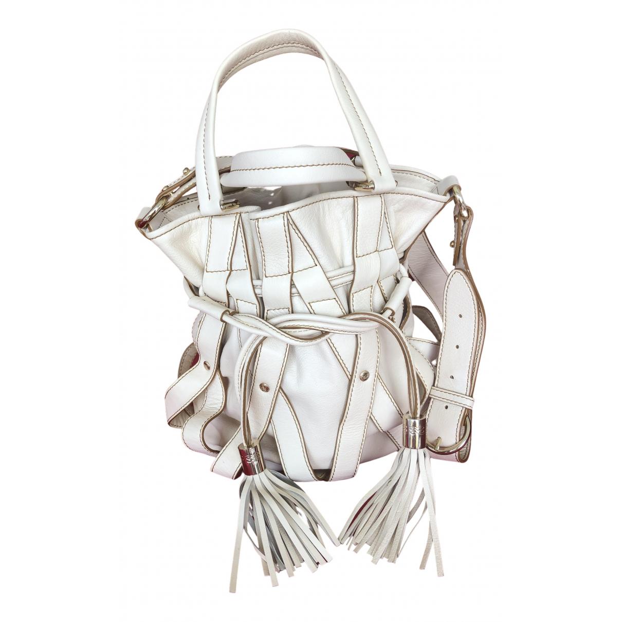 Lancel \N Handtasche in  Ecru Leder