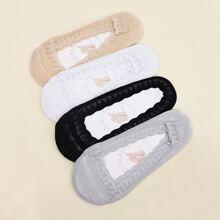 4 Paare Socken mit Spitzen