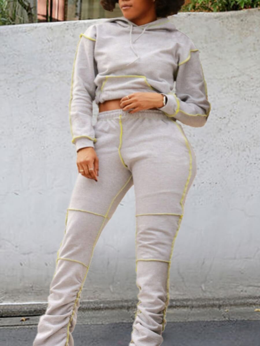 LW Lovely Casual Hooded Collar Patchwork Grey Two Piece Pants Set