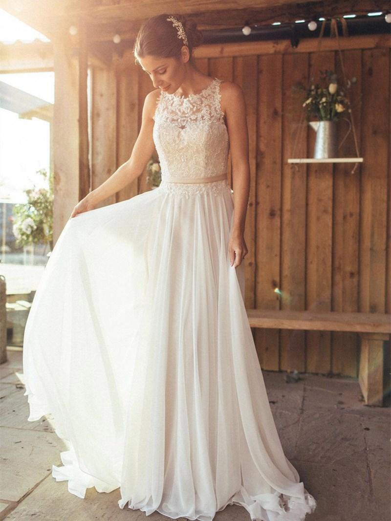 Ericdress Appliques Button Beach Wedding Dress