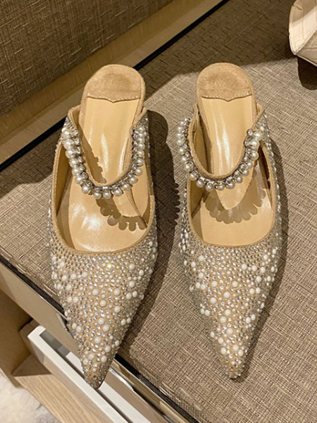 Milanoo Mulas y Zuecos Negro dedo del pie acentuado Tacon bajo de aguja Micro gamuza Perlas ahueca hacia fuera sandalias de las mujeres