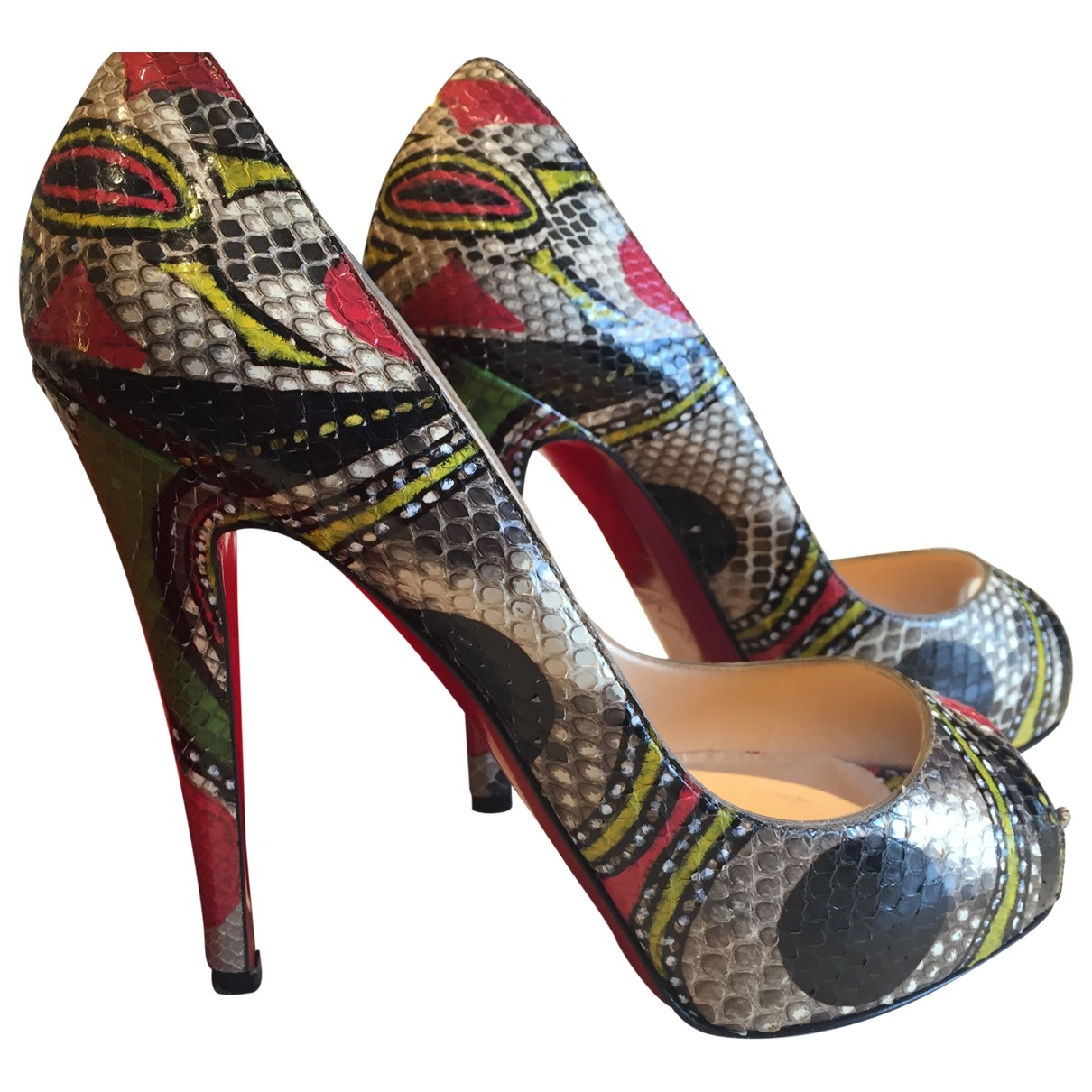 Christian Louboutin Very Privé Multicolour Python Heels for Women 37.5 EU