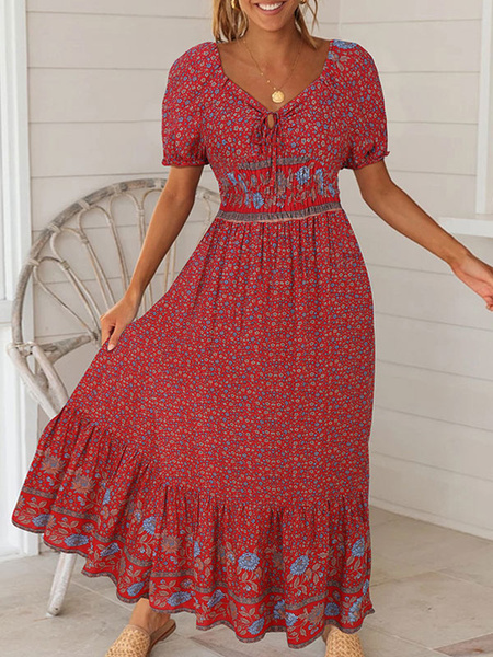 Milanoo Boho Maxi Dress Short Sleeve Floral Print Beach Dress