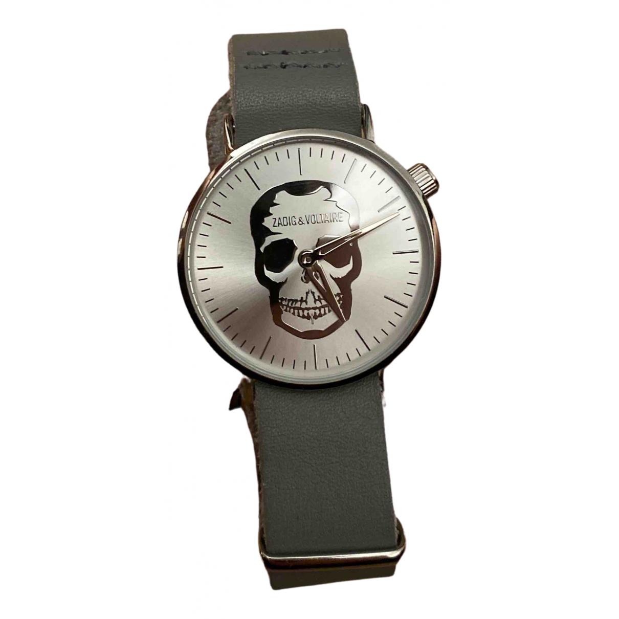 Zadig & Voltaire Papillon Uhr in  Grau Stahl