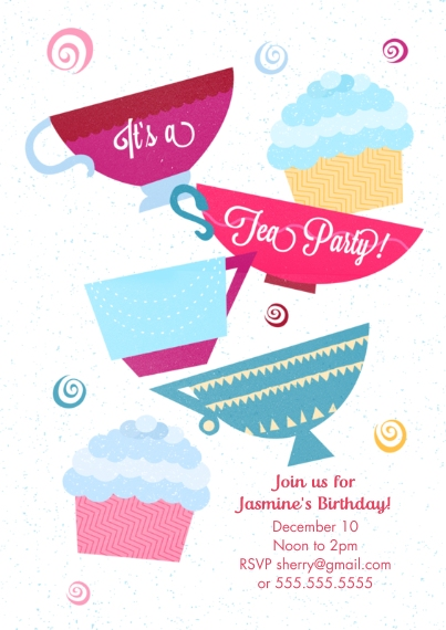 Kids Birthday Party Invites 5x7 Cards, Premium Cardstock 120lb with Scalloped Corners, Card & Stationery -Birthday Tea Party