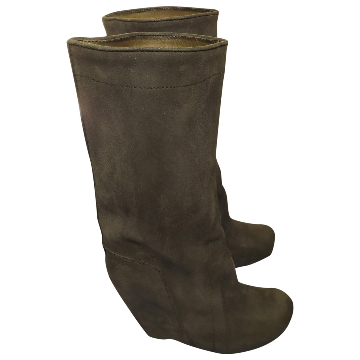 Rick Owens N Grey Leather Boots for Women 40 IT