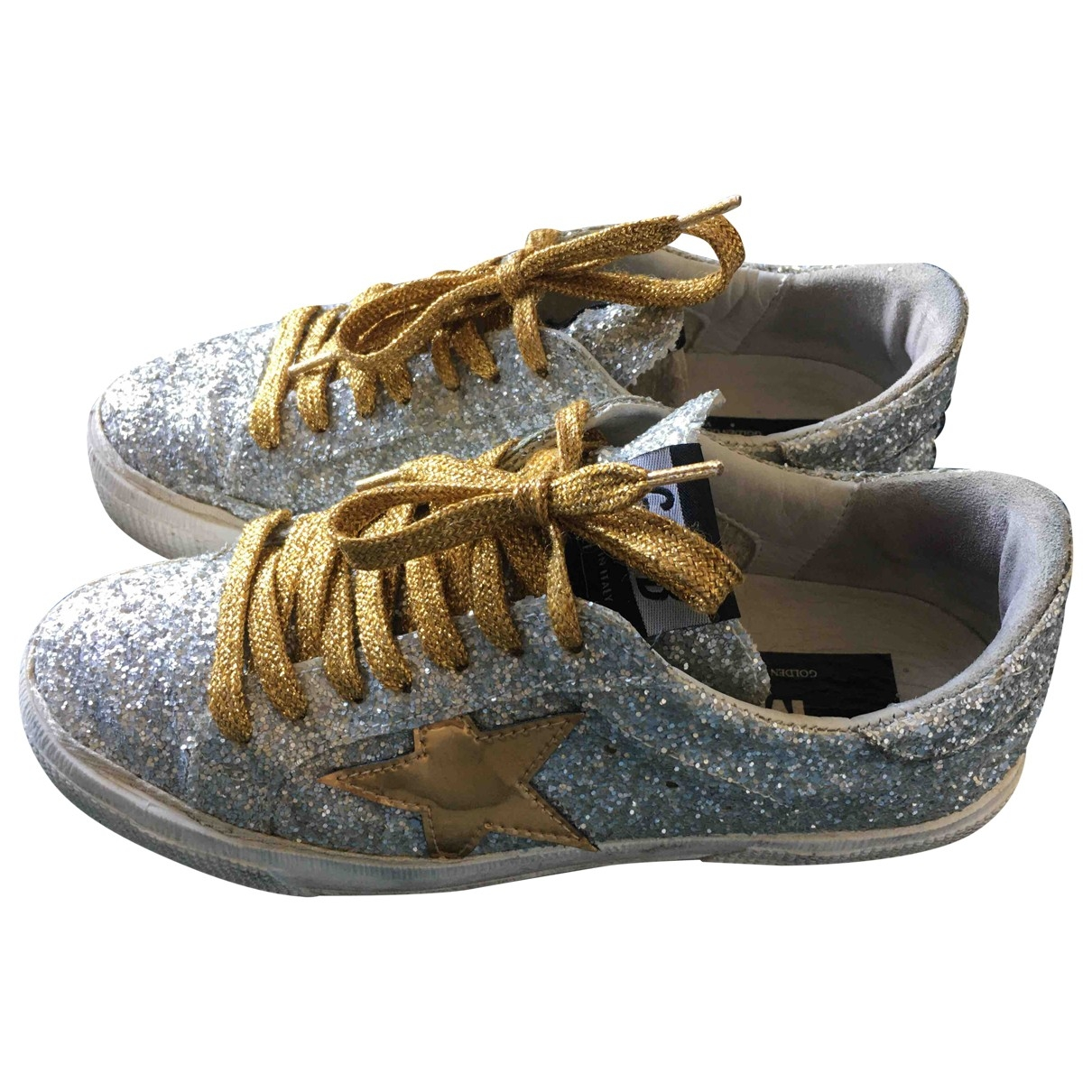 Golden Goose May Silver Glitter Trainers for Women 37 EU