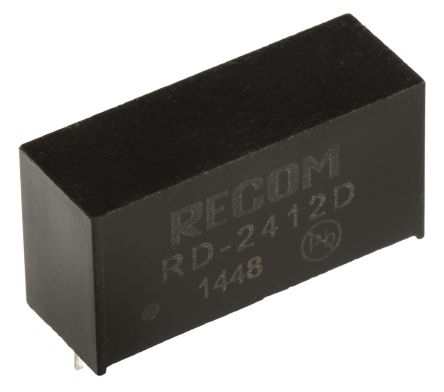 Recom RD 2W Isolated DC-DC Converter Through Hole, Voltage in 21.6 → 26.4 V dc, Voltage out ±12V dc