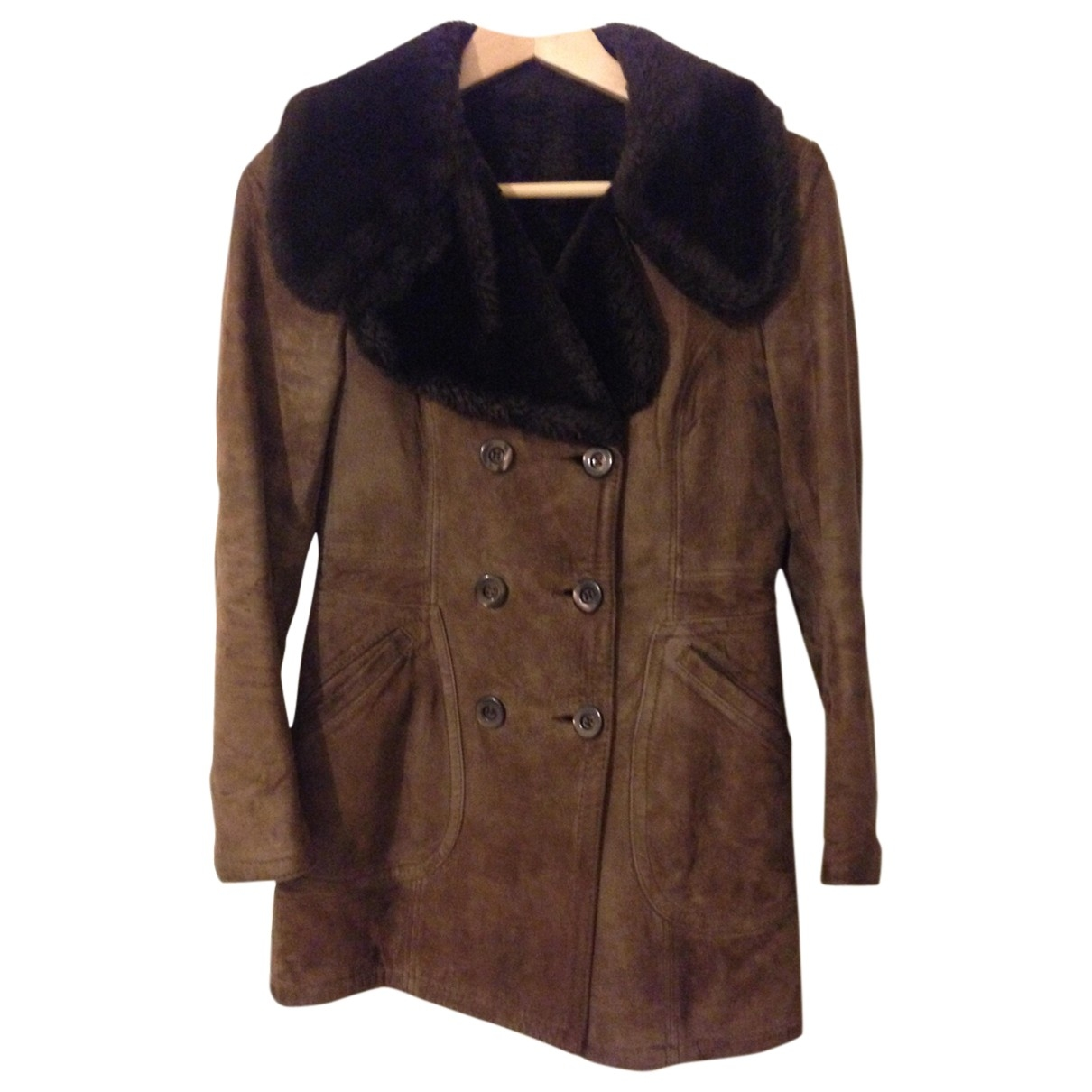 Non Signé / Unsigned \N Brown Shearling coat for Women 40 IT