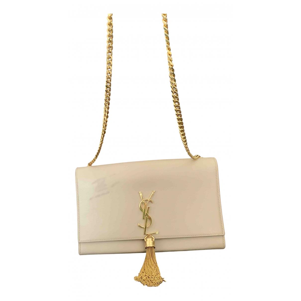 Saint Laurent Kate monogramme Handtasche in  Beige Leder