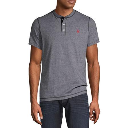 U.S. Polo Assn. Mens Henley Neck Short Sleeve T-Shirt, Xx-large , Black