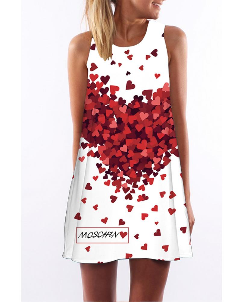 3D Heart Shape Print Crew Neck Sleeveless Women Summer Dress
