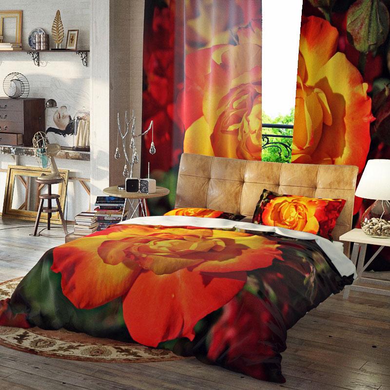 Floral Bloom Duvet Cover Set Three-Piece Set Reactive Printing Polyester Bedding Sets
