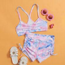 Girls Tie Dye Ruched Bikini Swimsuit