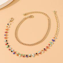 2 Stuecke Armband mit Perlen & Kette