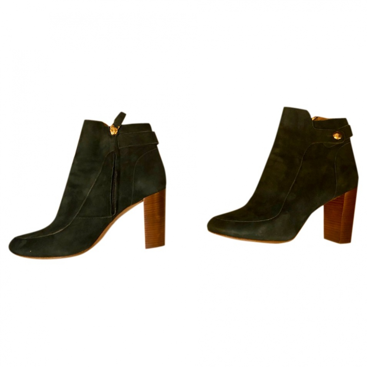 Sezane - Boots   pour femme en suede - vert
