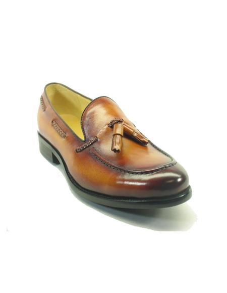 Mens Slip On Leather Loafers by Carrucci - Cognac Tassel